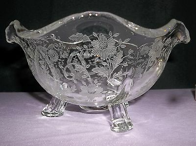 Candy Bowl Etched Glass with Floral Design w 3 Legs for Table Top  5 5/8 in Dia