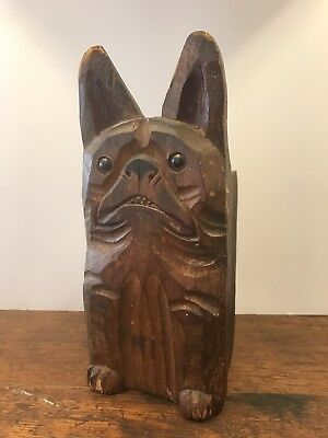 Antique Folk Art Carved Wood French Bull Dog Figure Statue Box Frenchie