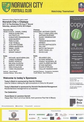 * OFFICIAL TEAMSHEET - NORWICH CITY v CHELSEA (FA CUP - 6th January 2018) *