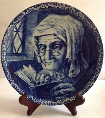 """Collectible Blue Bouch freres Plate-Old Fisherman's Wife made In Belgium 10"""""""