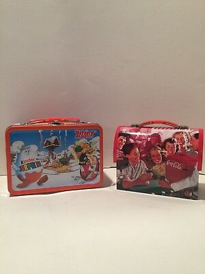 2 small lunch boxes. Coca-Cola Lunch Box Tin and Kinder Surprise Asterix