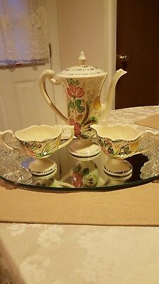 "Blue Ridge Pottery ""Rose Marie""  Chocolate Pot w/Lid, Creamer, open Sugar Bowl"