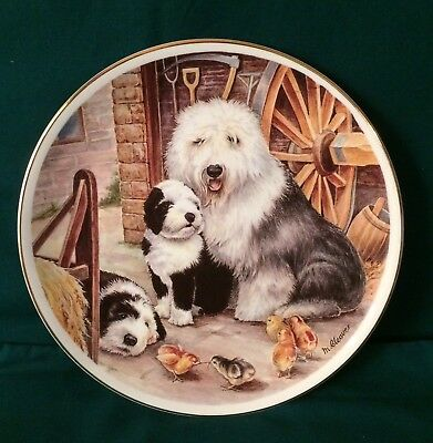 "Old English Sheepdog By M Cleaver Collectors Plate, 8"" Bone China, England"