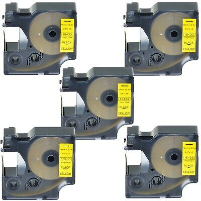 "5PK 18433 Black on Yellow Vinyl Label 3/4"" for DYMO RHINO 4200 5200 6000 Printer"