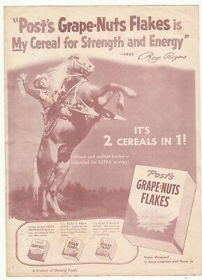 Post's Grape-Nuts Flakes Cereal & Roy Rogers & Trigger Advertisement Poster