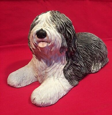 Sandicast OLD ENGLISH SHEEPDOG Shaggy Dog Hand-Painted Figurine Statue, NICE!