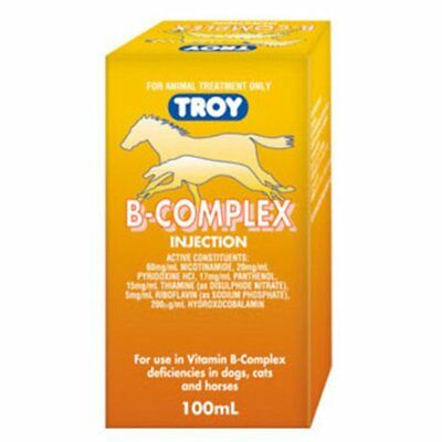 Troy Vitamin B Complex 100ml Horse Equine Health Dogs Cats Intravenous