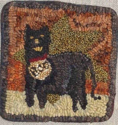 Boo Kitty ~Rug In A Day Linen Pattern~Primitive Rug Hooking