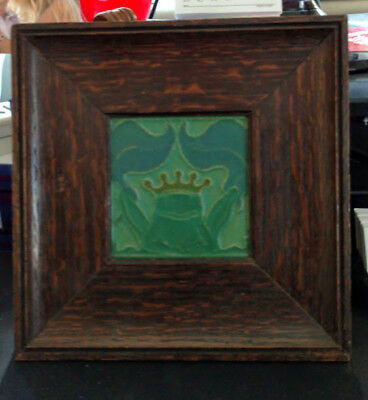 "ROOKWOOD Tile Ultra-Rare 1919 Flame Oak Framed ""KING FROG"" Perfect condition."