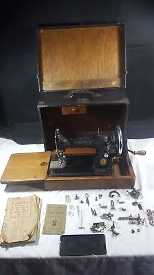 Singer 99 Manual Sewing Machine with Various Feet and Case