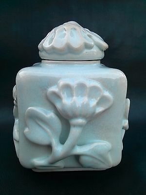 Antique 1925 Square Pale Blue Old Porcelain Box Wilhelm Kage Gustavsberg Sweden