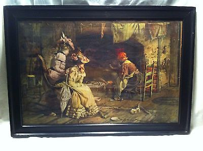 Vintage 1800s Black Americana Victorian Southern bells with cat  Art in frame