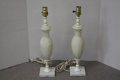 Vintage Pair of Bedroom Bedside Table Lamps White Under Glass Marble Bases