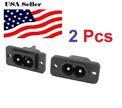2 pcs 2 Pin IEC 320 C8 Screw Mount Inlet Plug Socket AC 250V 2.5A
