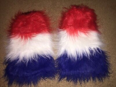 Red White Blue Fluffies Rave Edc Ultra Ezoo Legging Furry Dance Worn Once