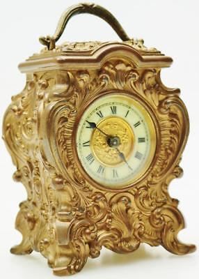 Superb Antique French 8 Day Bronze Miniature Desk Mantel Clock Carved Case C1900