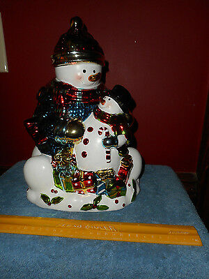 Snowman Cookie Jar Davids Cookies Metallic Mercury Glass Finish Holiday Canister