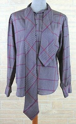 The Villager Vintage Plaid Secretary Pussy Bow Blouse Top Shirt Size 12 *Flaw*
