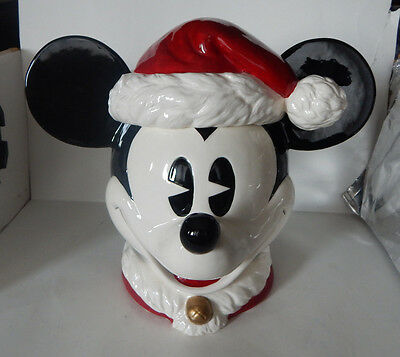 Rare!! Disney Enesco Large Ceramic Mickey Mouse Cookie Jar W/ Santa Hat Top
