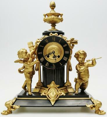 Rare Antique French Mantel Clock Gilt & Slate Cherub Angel 8 Day Striking C1870