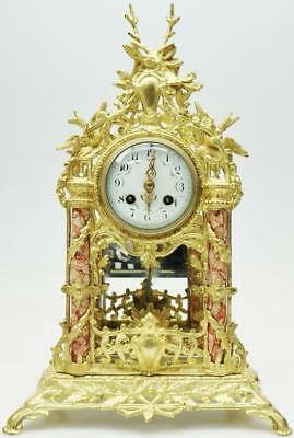 Antique French 8 day Ormolu Mantel Clock Bronze & Marble Portico Mantle Clock