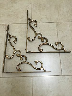 Antique Bronze Or Cast Iron Heavy Organic Floral Shelf Brackets