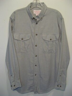 CC FILSON Button Up Shirt Light Gray Wool Cotton Blend Man's Medium EUC