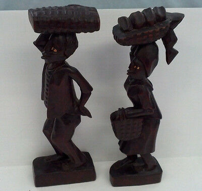 vintage Haitian wooden hand carved man and woman souvenir folk art