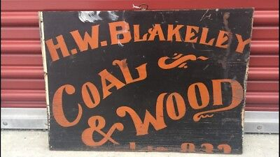 Antique Trade Sign H.W. Blakeley Coal & Wood Advertising Wooden Hand Painted