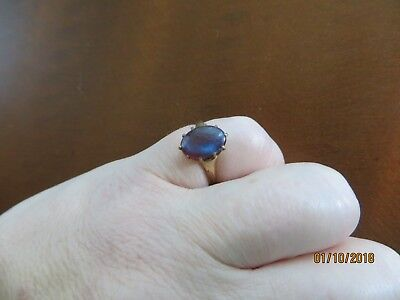 "Antique Victorian 10k Gold filled Saphiret Ring size 4.25"" rare."