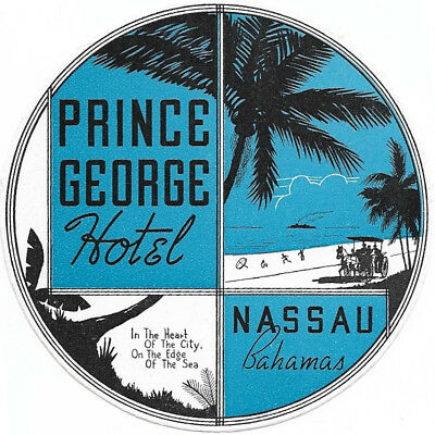 Prince George Hotel Nassau Bahamas Original Antique Vintage Luggage Label