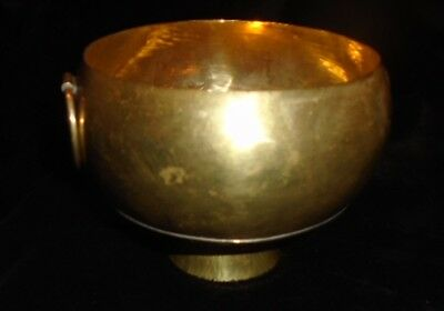 BEAUTIFUL Vintage antique? Hammered Brass Footed Bowl 5""