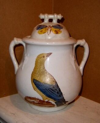 Antique White Ironstone Covered Sugar Jar Birds Butterflies Victorian Aesthetic