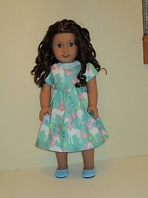 "Unicorn/Teal Dress for 18"" Doll Clothes American Girl"