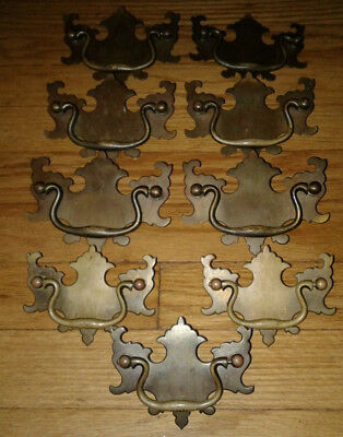9 Vintage Colonial Antique Solid Brass Ornate Drawer Pulls