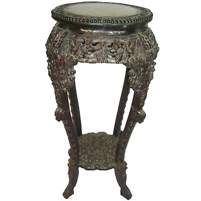 1850's Antique Chinese Carved Rosewood   Wood Marble Plant Stand Table