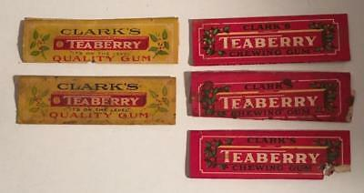 Five Vintage Clark's Teaberry Chewing Gum Wrappers~from Mid-1900's