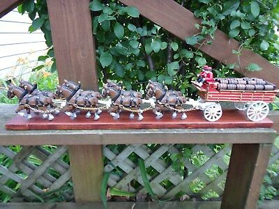 Vtg Cast Iron Clydesdale Horses Beer Wagon & Drivers Attached To Board Excellent