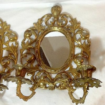Pair Gold Gilded Ornate Mirror 2 Arm Wall Sconce Regency Rococo Victorian Style