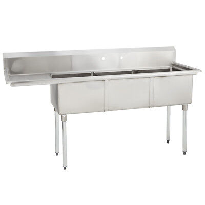 (3) Three Compartment Commercial Stainless Steel Sink 68.5 x 21.5 G