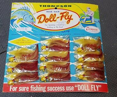 """Vintage store Display Card of 1/4"""" Thompson Doll-Fly Knoxville Tenn lure bear"""