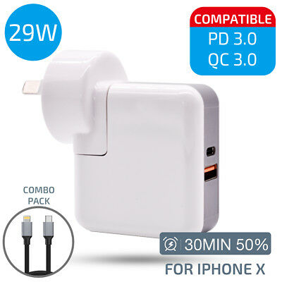 29W USB-C Power Adapter Charger & Cable with QC 3.0 for iPhone 8 X iPad Pro 12.9