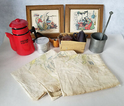 Antique - Vintage Junk Drawer Lot- Pictures Pipe Sack Clothes Metal cup/spoon
