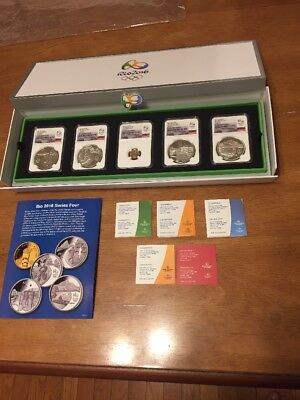 Amazing 2016 Rio Olympic Series Four 5-coin Set Including Gold Torch 10 Reais!