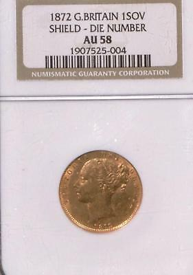 1872 Great Britain Sovereign | NGC AU 58 | Shield Die Number |.917 .2355 oz Gold