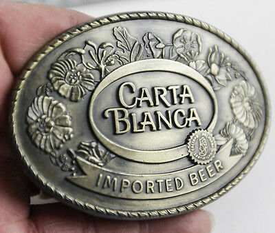 Vintage Carta Blanca Imported Beer Belt Buckle New Mexico Brewing