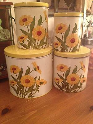 1951 tin lithographed GSW daisy kitchen canister set great condition