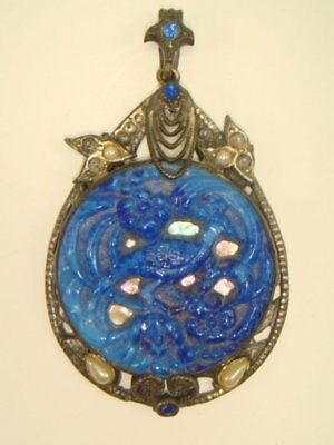 Vintage Art Deco Molded Blue Peking Glass Peacock Pendant Estate Jewelry
