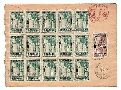 1923 IRAQ In British Occupation 20 Stamps on cover sent to England,
