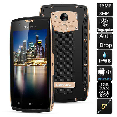 Blackview 4GB + 64GB 2 SIM Handy Wasserdicht OCTA CORE 5,0'' 4G Smartphone 13MP